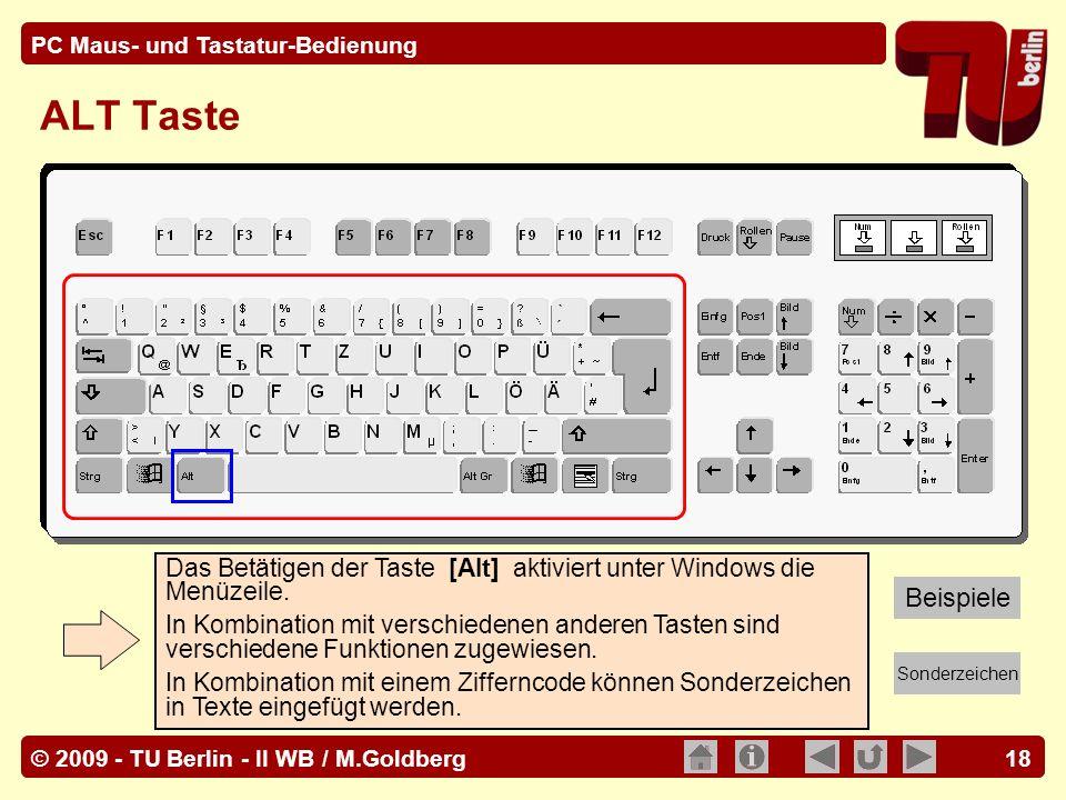 ALT Taste Das Betätigen der Taste [Alt] aktiviert unter Windows die Menüzeile.